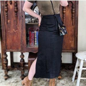 Vintage Bedford Fair Black Slit Skirt
